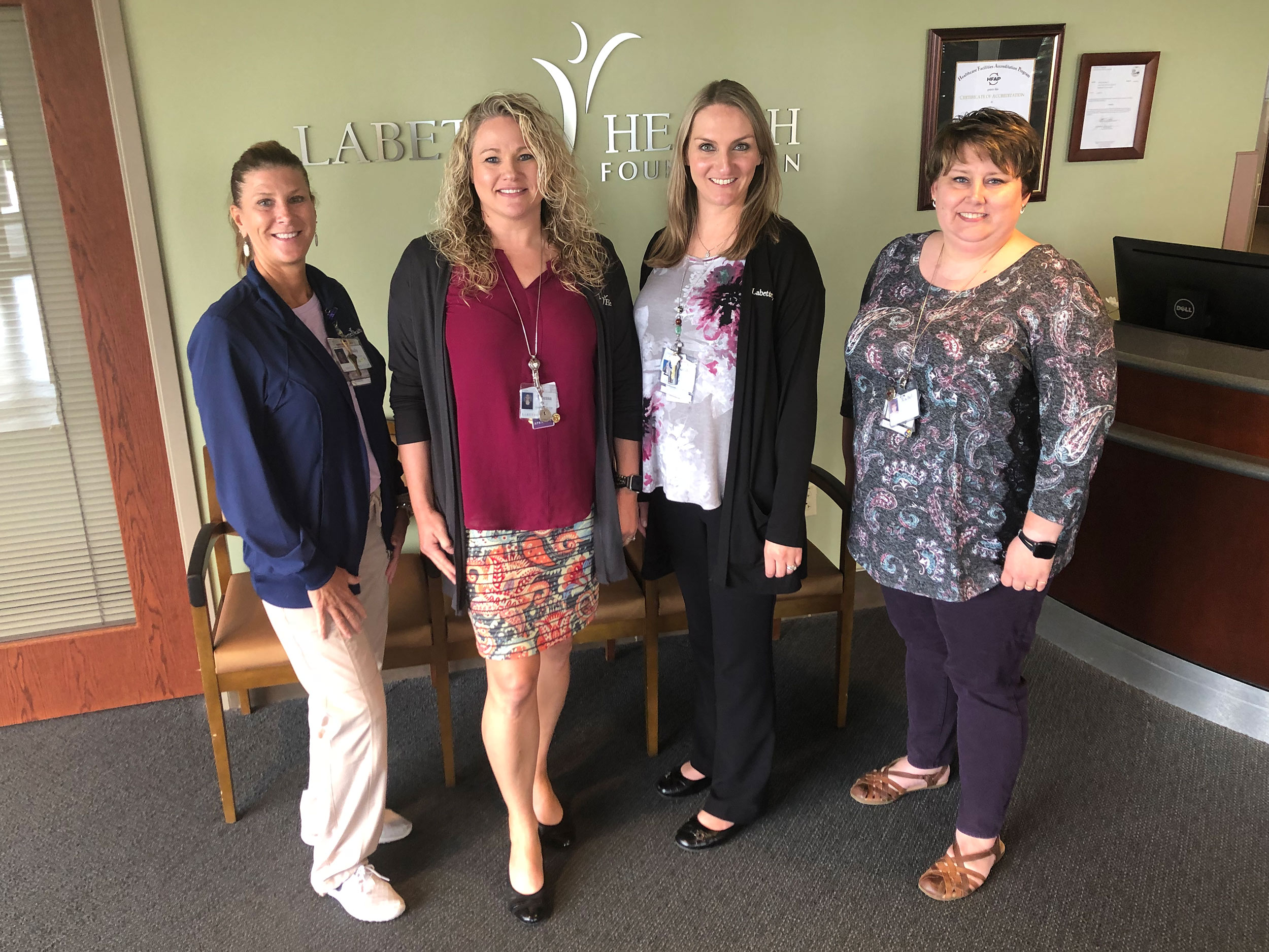 Labette Health team members include (from left) Emily O'Brien, RN; Tereasa DeMeritt, APRN;  Sarah Vaughan, RN; and Rachel Merrick, RN.