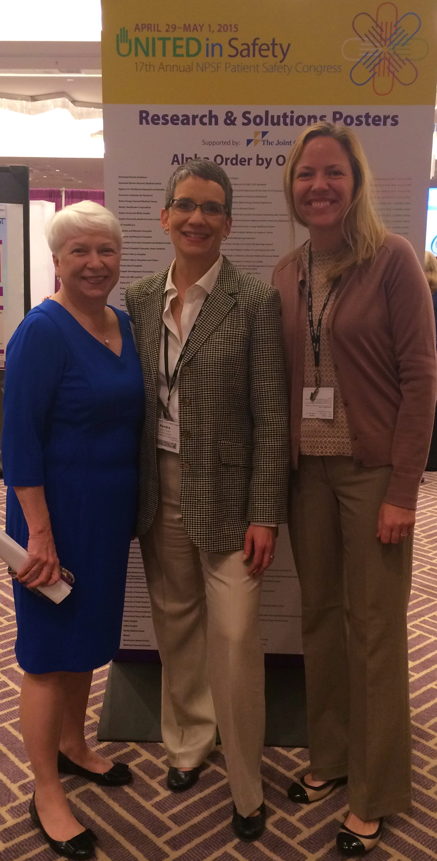 From left: Joann Paul, Wesley Medical Center; Kendra Tinsley, Kansas Healthcare Collaborative; and Dr. Jennifer Scott Koontz, Newton Medical Center, present their patient safety projects during the poster session at NPSF Patient Safety Congress in Austin, Tex.